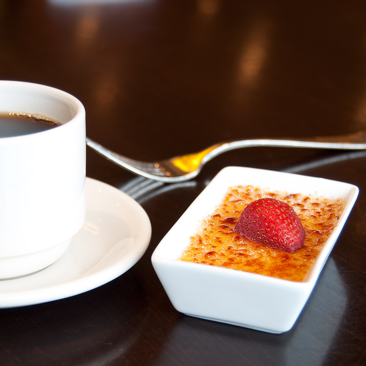 Delicious creme brulee dessert from Olives Restaurant in Mankato, Minnesota.